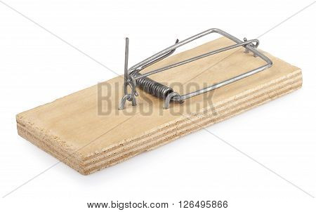 empty wooden mousetrap isolated on white background