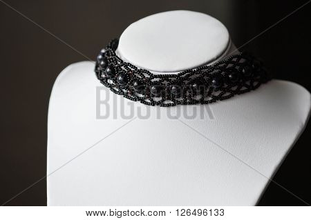 Choker Necklace With Black Beads Of Stones
