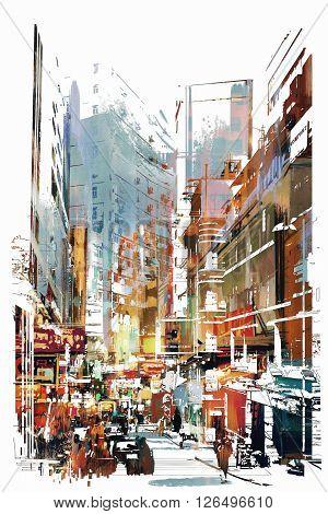 abstract art of cityscape, illustration art, city street