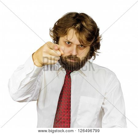 Evil shaggy bearded man points a finger. Isolated on white background