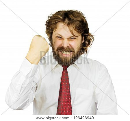 Evil shaggy bearded man shakes his fist. Isolated on white background
