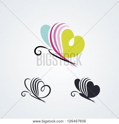 Stylized butterfly set isolated on white background. Vector symbols