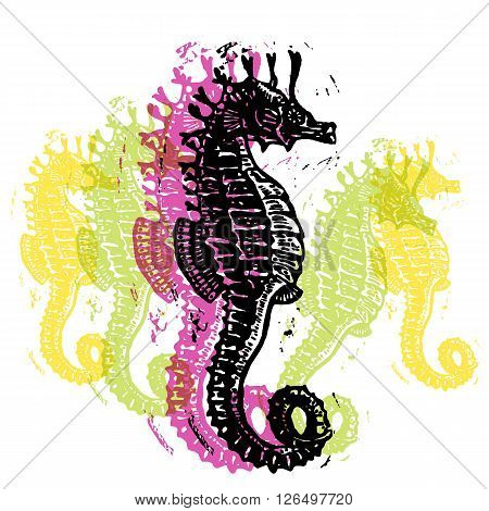 Vector Sea Horses in abstract composition. Linocut Sea Horses in different colours on white background
