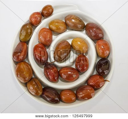 Olives In White Spiral Plate