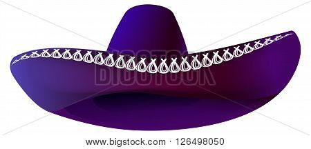 Mexican sombrero hat. Isolated on white vector illustration