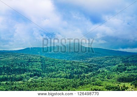View of the Polyud mountain from height. Ural. Russia