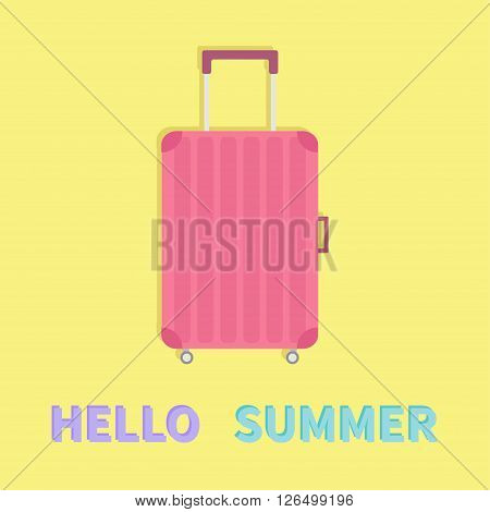 Hello summer. Travel bag suitcase baggage. Pink luggage handbag wheel and handle Summer vacation planning Travelling tourism. Passenger luggage case Flat design Yellow background Greeting card Vector