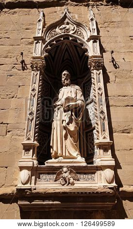 FLORENCE, ITALY - JUNE 05: Saint Mark by Donatello, Orsanmichele Church in Florence, Tuscany, Italy, on June 05, 2015