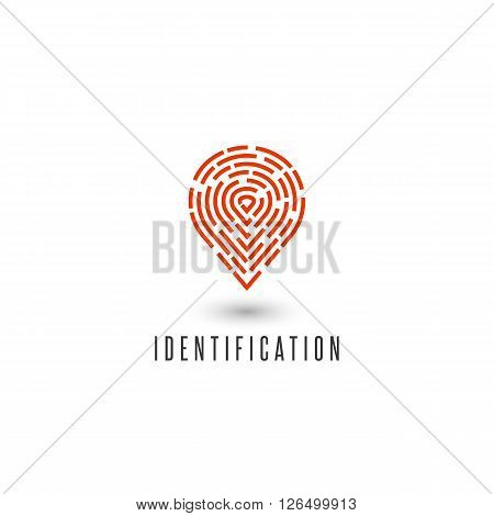 Identification Personal Fingerprint Creative Idea Detective Agency Logo, Gps Navigation Pin Icon
