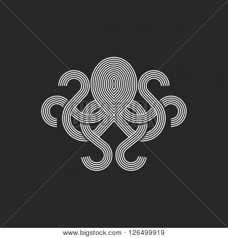Silhouette octopus logo monogram mockup seafood restaurant linear graphic emblem print t-shirt intersection line style