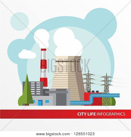 Thermal power station. Colorful illustration in a flat style. City infographics set. All types of power stations. System with transmission tower and generator and Cooling tower
