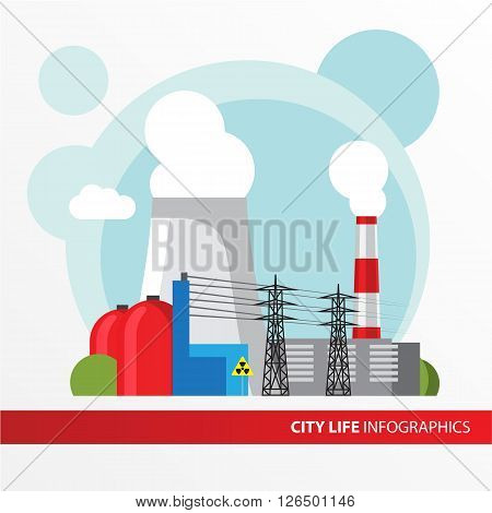 Nuclear power plant. Colorful illustration in a flat style. City infographics set. All types of power stations. System with transmission tower, nuclear reactor and Cooling tower