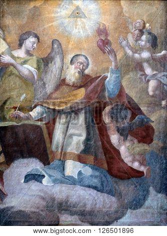 KOTARI, CROATIA - SEPTEMBER 16: Saint Augustine altarpiece in the church of Saint Leonard of Noblac in Kotari, Croatia on September 16, 2015.