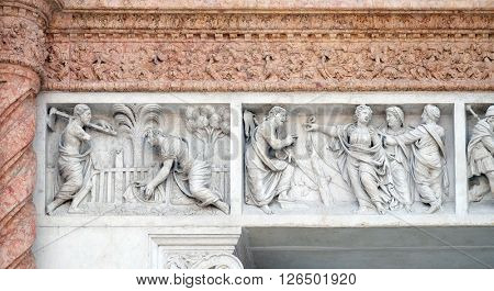 BOLOGNA, ITALY - JUNE 04: Christ in the Garden of Mary Magdalene left and Mary Magdalene points out Redeemer right by Zaccaria da Volterra, San Petronio Basilica in Bologna, Italy, on June 04, 2015