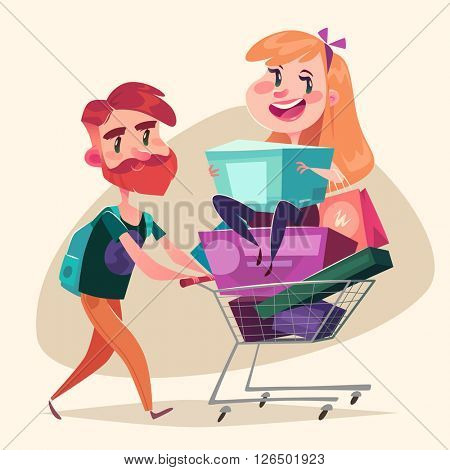 Consumers with a full shopping basket. Vector illustration.