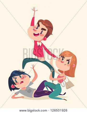 Consumers fight. Vector illustration.