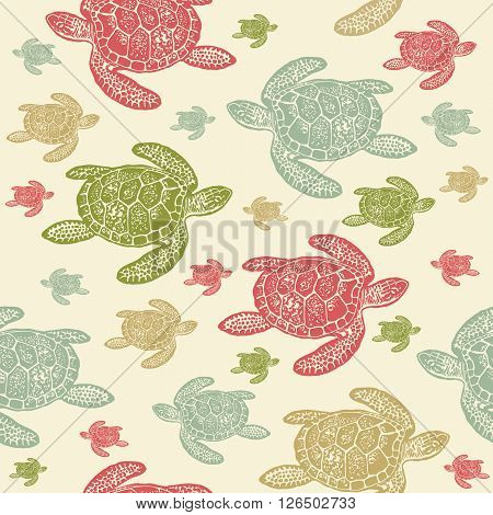 Sea Turtles colourful seamless vector pattern. Realistic engraved style of Sea Turtles on beige background.