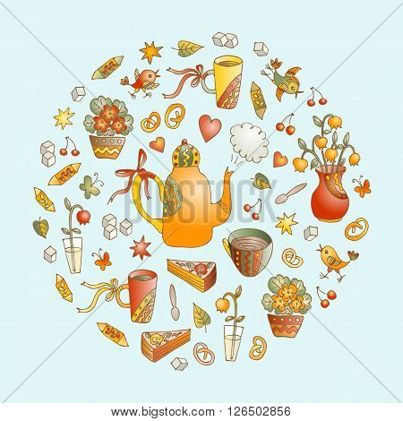 Vector tea time illustration. Beautiful round shape made of cute hand drawn elements for tea party - teapots, cups, sweets, flowers and birds. Card with circle made of sweet doodles.