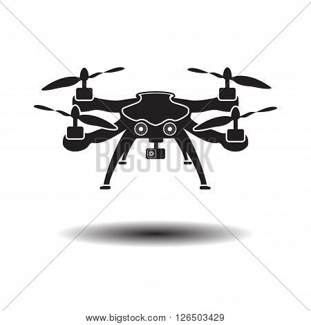 Drone with action camera logo vector illustration