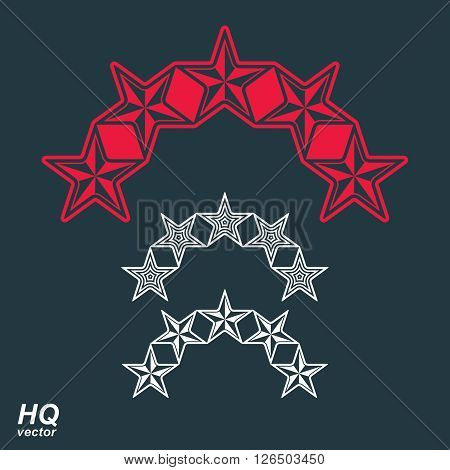 Vector eps8 union symbol. Festive design element with stars decorative luxury template. Corporate icons. Social concept theme emblems set.