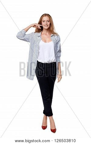 Fashion woman in full length happy smiling posing over white background