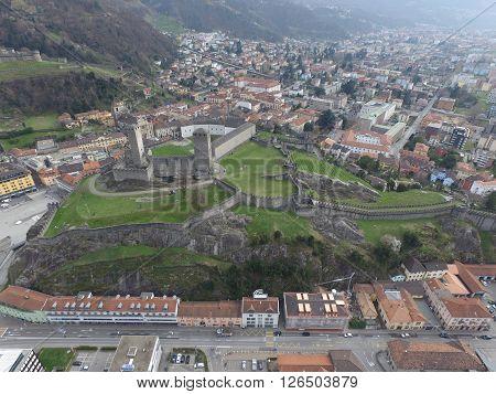 Aerial view of the fortress of Bellinzona in Switzerland