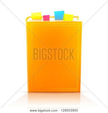 Bright colored realistic book with bookmarks and blank cover isolated on white. Design template. Vector illustration, eps10.