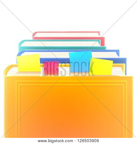 Bright colored realistic books in row with bookmarks and blank cover isolated on white. Design template. Vector illustration, eps10.