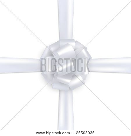 White realistic gift wrapping silk. Design template.
