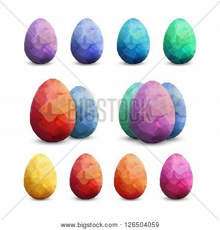 Easter Vector template with eggs set. Vector easter eggs polygonal design template. Modern Vector easter eggs Premium set. colour set of isolated eggs editable template.