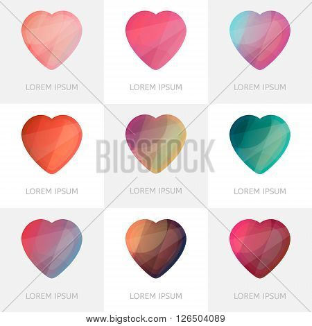 Premium colorful set of geometric logo hearts icons in low poly style. Abstract shapes for business visual identity - triangle polygons and rectangular designs. Collection of abstract vector illustrations for Valentine's Day.