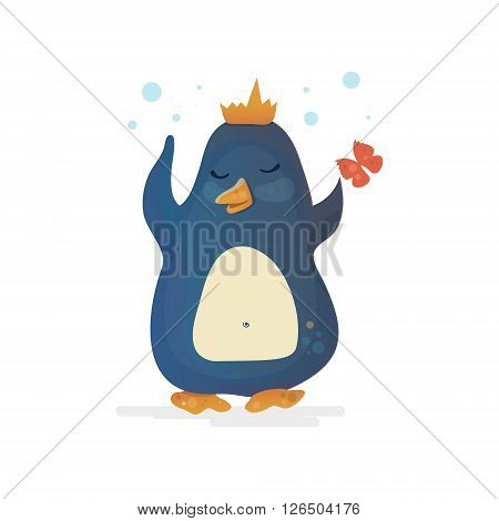 Valentine's Day Penguin. Penguin king in the crown with butterfly. Romantic vector illustration. Can be used for cards printing.