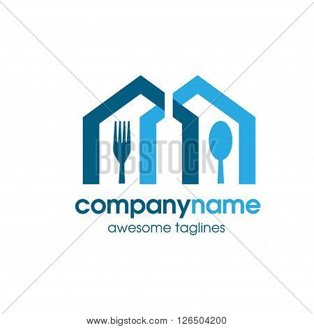 food house with wine botle in negative style logo vector