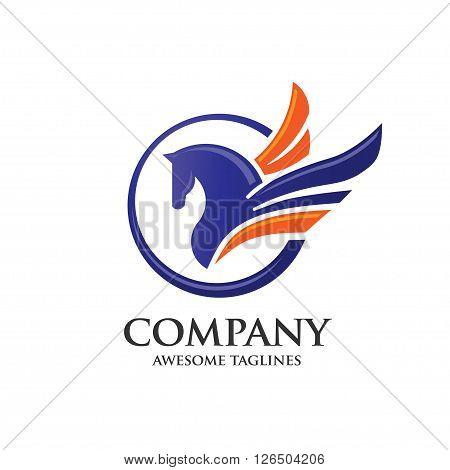 elegant and modern Pegasus with circle logo concept