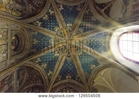 TOLEDO, SPAIN - MARCH 23, 2016: Interior of the Toledo Cathedral. Cathedral started in 1226 finished 1493