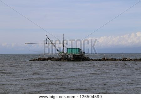 A built into the sea fisherman hut