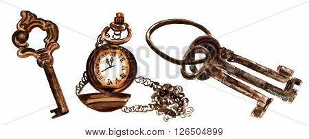 A set of watercolor drawings of vintage keys and a chain watch a collection of design elements for vintage style layouts