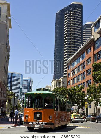 SAN DIEGO,CALIFORNIA - APRIL 27: Old Town Trolley at city tour of San Diego,California,Usa on April 27,2014.