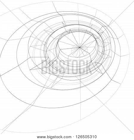 Scientific And Technology Monochrome Stylish Background, Abstract Dimensional Figure With Lines Mesh