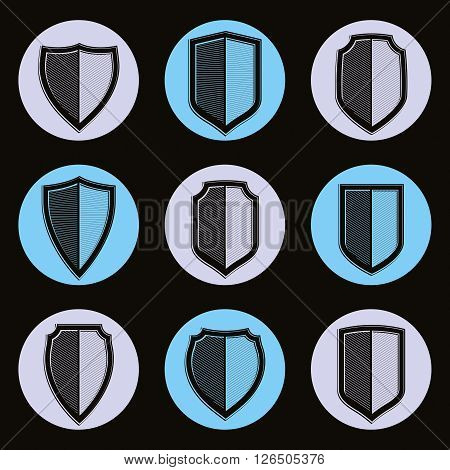 Set of detailed classic coat of arms decorative vector defense shields collection. Heraldic symbols for use in graphic design.