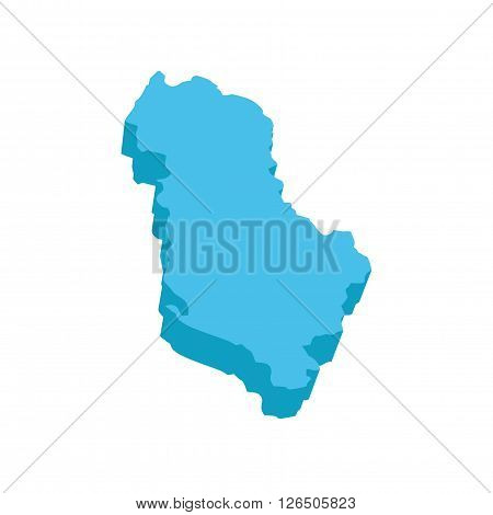 A map of Albania 3D on white background