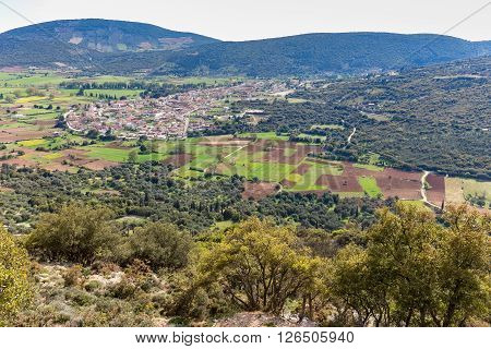 Landscape village with houses in Greek valley of Kefalonia
