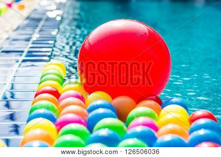 plastic ball many colors on swiming pool