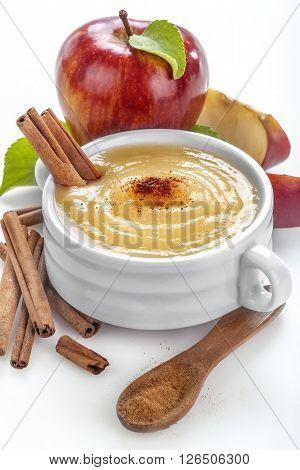 Apple puree of fresh organic apples with cinnamon