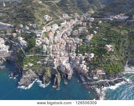 Aerial view of Riomaggiore on the Ligurian coast in Italy