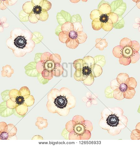 Seamless pattern with tender flowers and leaves, vector illustration in vintage watercolor style.