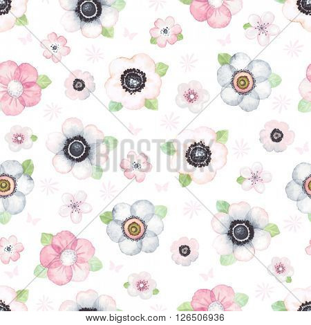 Seamless pattern with tender flowers and green leaves on white background, vector illustration in vintage watercolor style.
