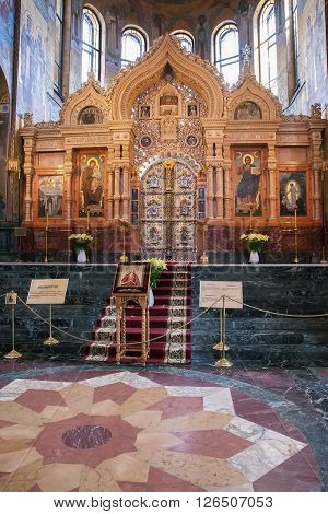 SAINT PETERSBURG, RUSSIA -APRIL 15, 2016: Interior of the Church of Saviour on Spilled Blood.   Church was built on the site where Emperor Alexander II was fatally wounded in March 1881