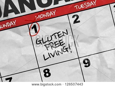 Concept image of a Calendar with the text: Gluten Free Living