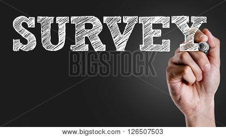 Hand writing the text: Survey